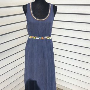 Anthropologie M maxi blue beaded boho dress